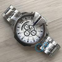 Мужские часы Diesel 10 Bar Silver-White Metall, кварцевые, реплика, отличное качество!