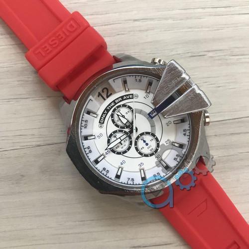 Мужские часы Diesel 10 Bar Silver-White Red Wristband Silicone кварцевые, реплика, отличное качество!