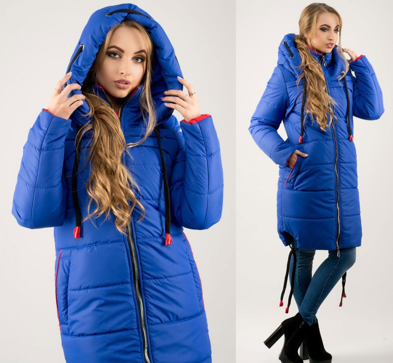 Пуховик жіночий подовжена куртка тепла зимова, синя