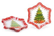 Тарелки Bonita стеклянные в форме снежинки 6 шт 23см (809-224)