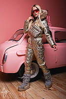 Металлизированный женский зимний комбез с мехом 600828, фото 1