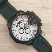 Мужские часы Diesel 10 Bar All Black-White Green Wristband Silicone, кварцевые, реплика, отличное качество!