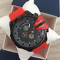 Мужские часы Diesel 10 Bar Black-Gray-Red-Red Wristband Silicone, кварцевые, реплика, отличное качество!