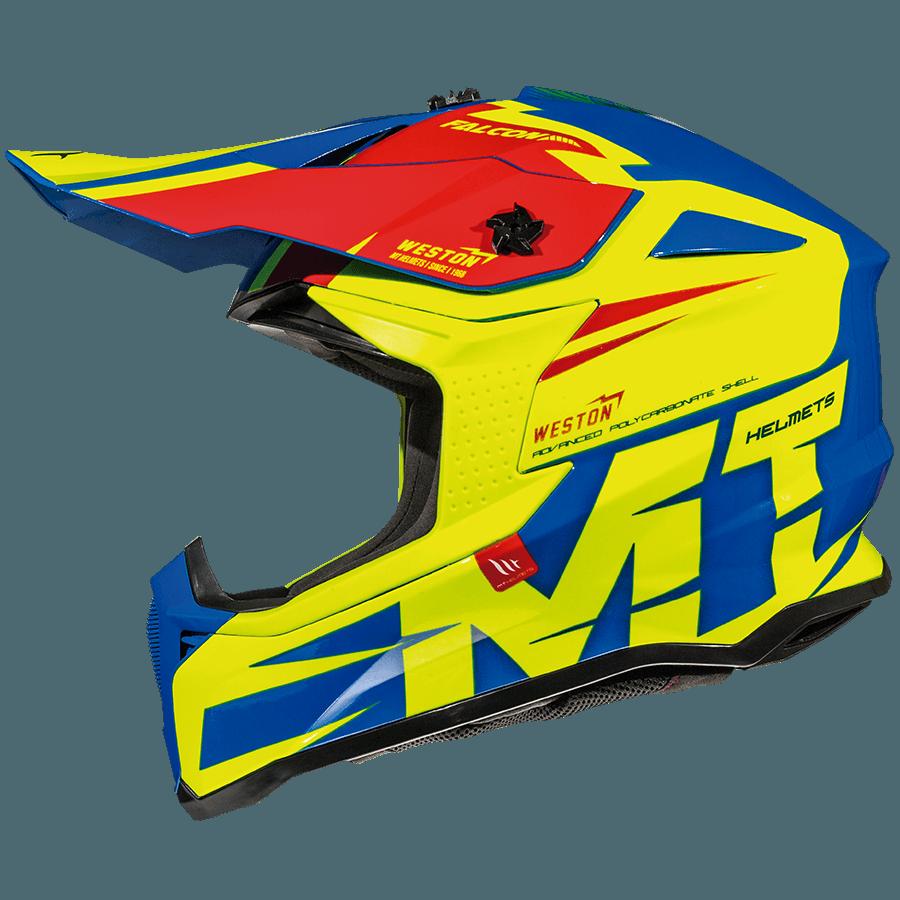 Мотошлем MT Falcon Weston Gloss Fluor Yellow