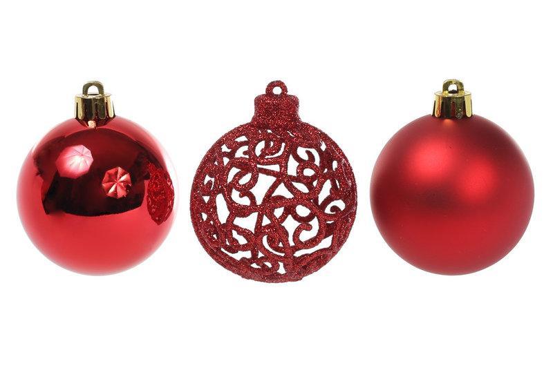 Набор елочных шаров Bonita Ажур красный 6 шт 6 см (147-492)