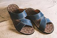Мужские синие шлепанцы из натуральной кожи 10665