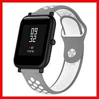 Ремешок силиконовый 20мм для smartwatch xiaomi amazfit BIP серо-салатовый