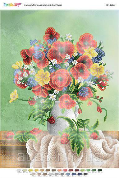 "Схема для частичной зашивки бисером ""Натюрморт з трояндами (частина Виш.)"""