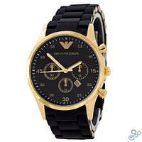 Часы наручные мужские Emporio Armani (золотые-черные) Top replic