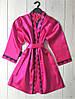 Яркий малиновый халат из атласа, женская одежда для дома, фото 2