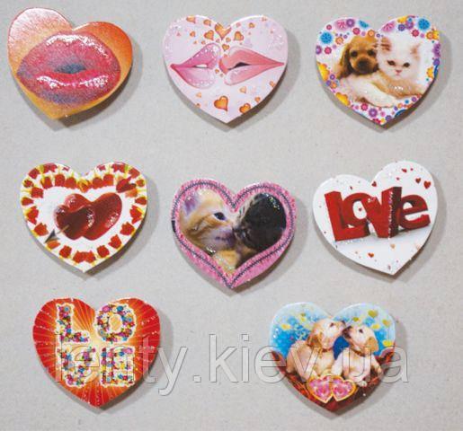 """Подарунковий набір міні-листівок-сердечок """"Губи"""", """"Love"""" і """"Тварини"""" (8 шт.) на двосторонньому скотчі (липучках)"""