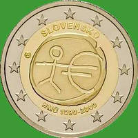 Словакия 2 евро 2009 г. 10 лет экономическому и валютному союзу. UNC