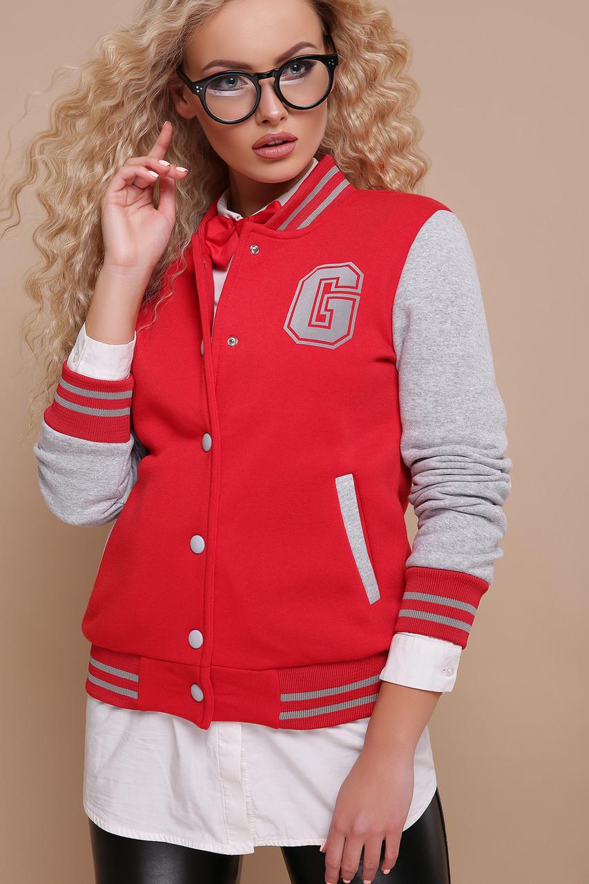 Женская кофта красного цвета  в спортивном стиле