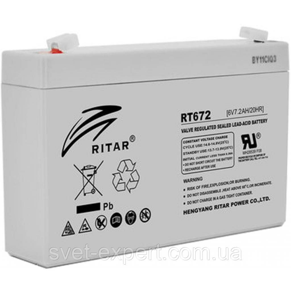 Аккумулятор AGM RITAR RT672, Gray Case, 6V 7.2Ah  ( 151х34х94 (100) ) Q20