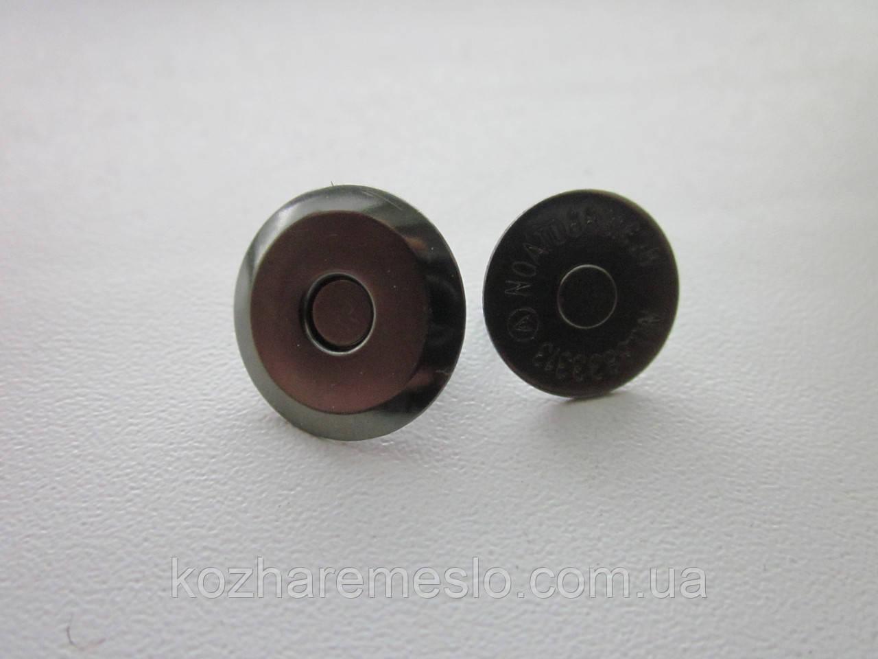 Кнопка - магнит 16 мм тёмный никель