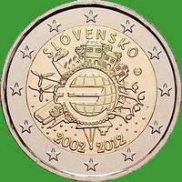 Словакия 2 евро 2012 г. 10 лет наличному обращению евро . UNC.