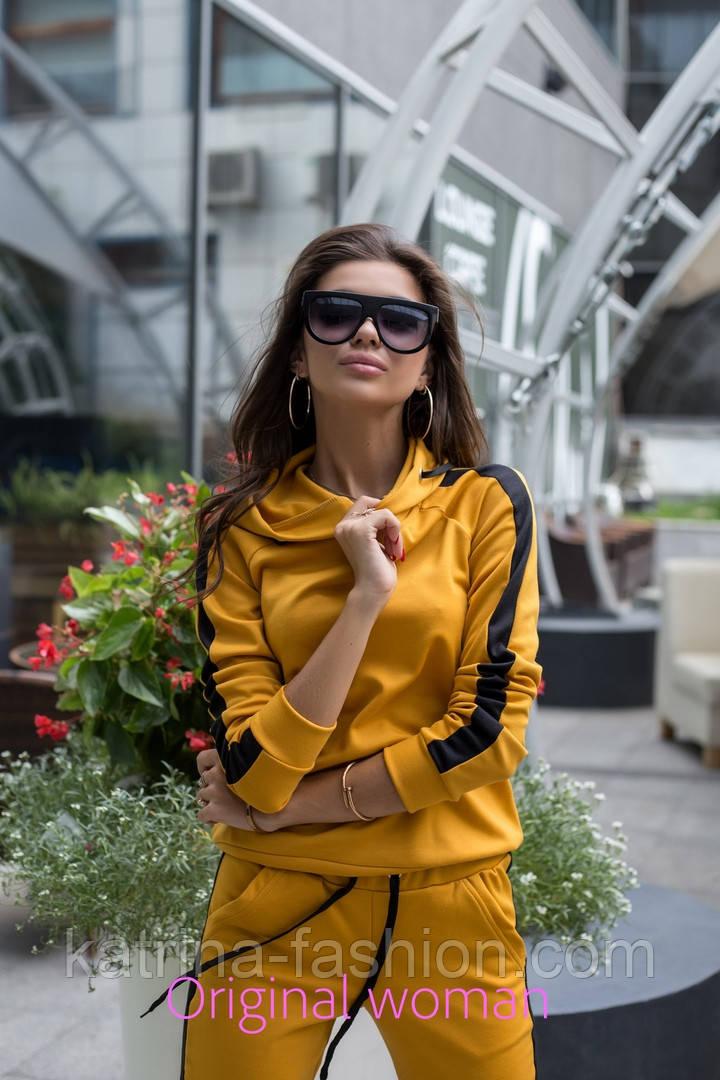 Женский стильный костюм с лампасами: кофта с капюшоном и штаны (6 цветов)