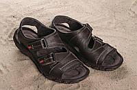 Мужские кожаные коричневые сандали Norman на темной подошве 10895