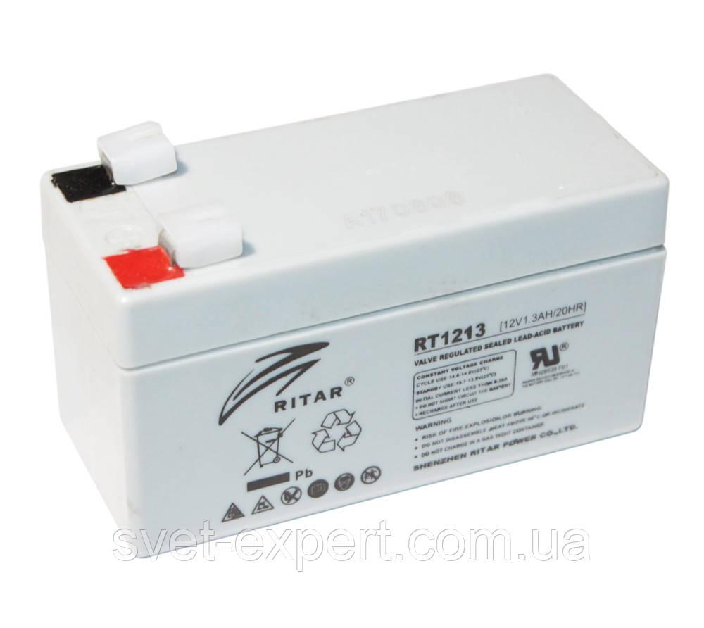 Аккумулятор AGM RITAR RT1213, Gray Case, 12V 1.3Ah  ( 98 х 44 х 53 (59) ) Q20