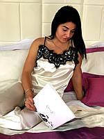 Пижама женская цвет шампань с черным кружевом