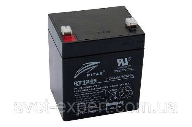 Аккумулятор AGM RITAR RT1245B, Black Case, 12V 4.5Ah  ( 90 х 70 х 101 (107) ) Q10, фото 2