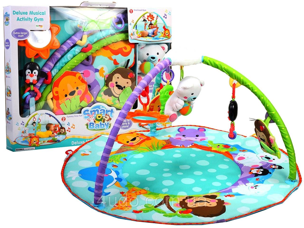 Детский музыкальный развивающий коврик с дугами Умный малыш