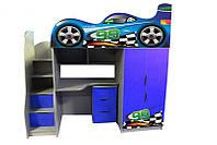 Кровать-чердак Форсаж синяя с рисунком на двери (серия драйв)