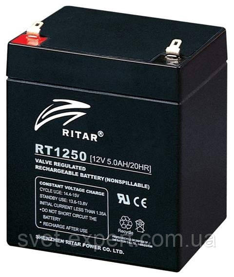Аккумулятор AGM RITAR RT1250B, Black Case, 12V 5.0Ah  ( 90 х70 х 101 (107) ) Q10