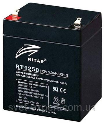 Аккумулятор AGM RITAR RT1250B, Black Case, 12V 5.0Ah  ( 90 х70 х 101 (107) ) Q10, фото 2