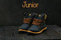 Детские кожаные зимние ботинки Ecco Синий\Рыжий 037W-T1