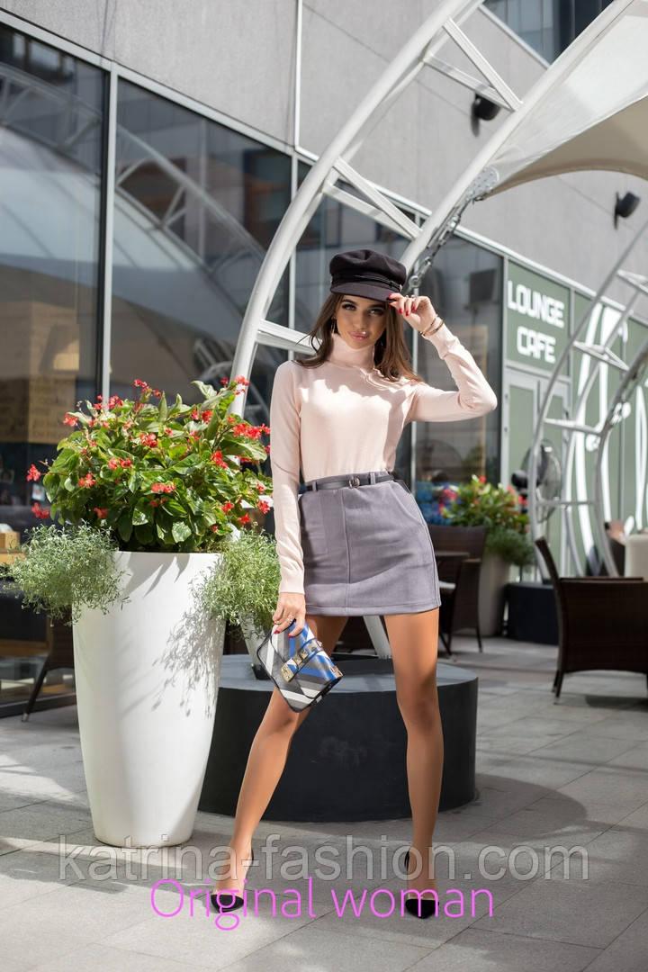 Женская замшевая юбка с поясом (5 цветов)