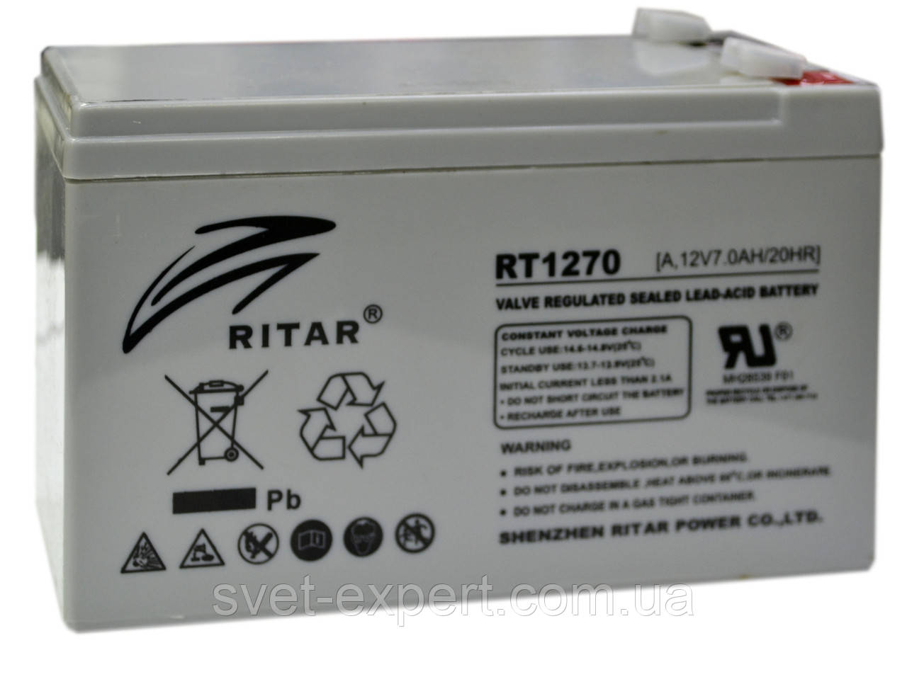 Аккумулятор AGM RITAR RT1270, Gray Case, 12V 7.0Ah  ( 151 х 65 х 94 (100) ) Q10