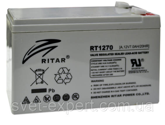 Аккумулятор AGM RITAR RT1270, Gray Case, 12V 7.0Ah  ( 151 х 65 х 94 (100) ) Q10, фото 2