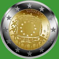 Словакия 2 евро 2015 г. 30 лет флагу Европы . UNC.