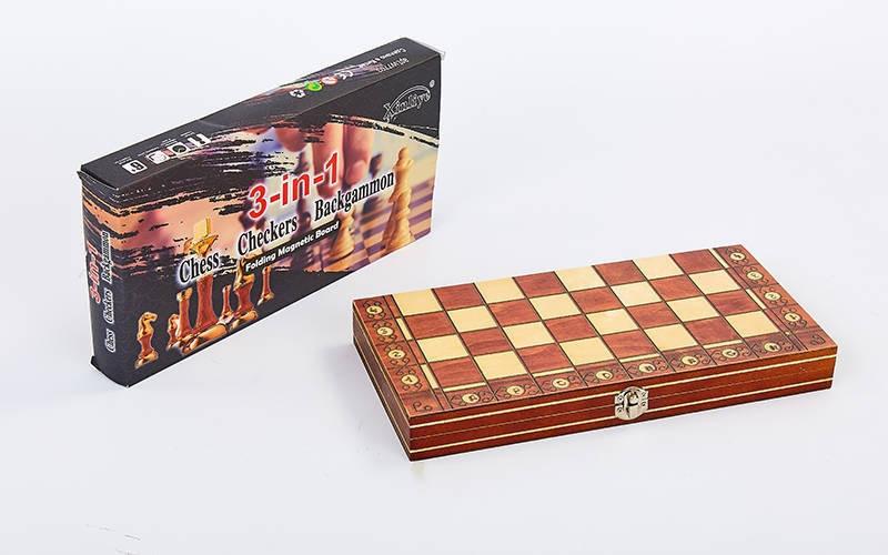 Шахи, шашки, нарди 3 в 1 дерев'яні з магнітом W7704H (фігури-дерево, розмір дошки 39см x 39см)