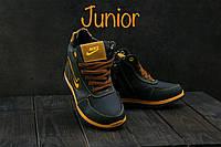 Детские кожаные зимние кроссовки Nike Синий\Рыжий 040W-T1_rizh
