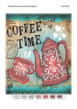 """Схема для частичной вышивки бисером """"Час кави"""""""