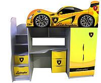 Кровать чердак Ламборджини с спойлером желтая (серия форсаж) Цена 7541 грн (без комода), фото 1