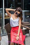 Женская классическая юбка-карандаш миди из эко-кожи (4 цвета), фото 7