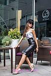 Женская классическая юбка-карандаш миди из эко-кожи (4 цвета), фото 9