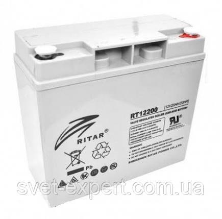 Аккумулятор AGM RITAR RT12200, Gray Case, 12V 20.0Ah  ( 181 х 77 х 167 ) Q2, фото 2