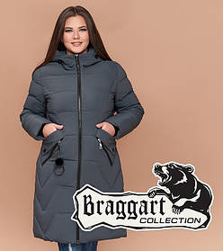 Braggart Diva 1901   Женская зимняя куртка большого размера серо-зеленая