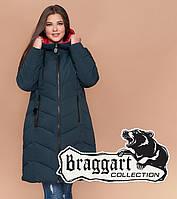 Braggart Diva 1902   Зимняя женская куртка большого размера темно-зеленая (11)
