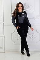 """Бархатный женский спортивный костюм """"B&J"""" с джинсовыми вставками (большие размеры)"""