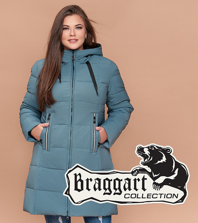 Braggart Diva 25175 | Зимняя женская куртка большого размера светлая бирюза