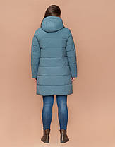 Braggart Diva 25175 | Зимняя женская куртка большого размера светлая бирюза, фото 3