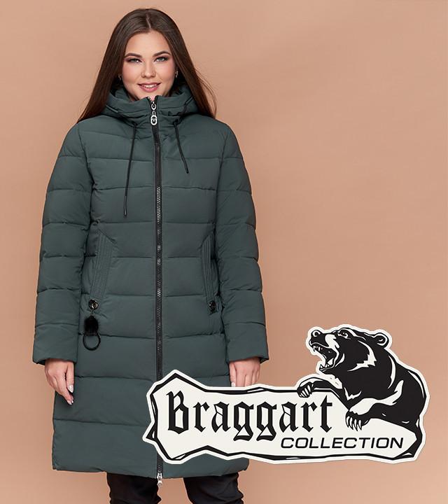 Braggart Diva 25095 | Теплая женская куртка большого размера серо-зеленая