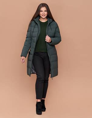 Braggart Diva 25095 | Теплая женская куртка большого размера серо-зеленая, фото 2