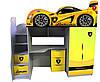 Кровать чердак Ламборджини желтая (серия бренд) Цена 8683 грн ( с комодом)