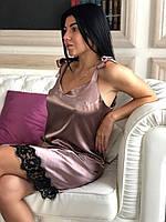 Шелковая сорочка с кружевом на завязках, пеньюары женские., фото 1